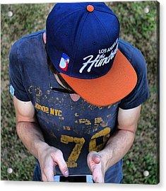 I'm Thinking.... #person #guy #hat Acrylic Print