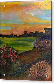 Imaginary View Of Golf Course Acrylic Print by Anne-Elizabeth Whiteway