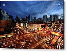 Impressive Water Dragon On Street Acrylic Print by Andrew JK Tan