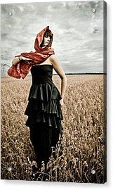 In Mourning Red Acrylic Print by Olga Leszczynska