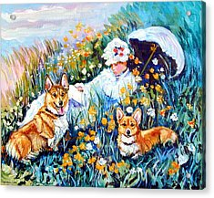 In The Field With Corgis After Monet Acrylic Print by Lyn Cook