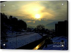 in Ticino una mattina presto guardando verso Brunate  Acrylic Print by Mariana Costa Weldon