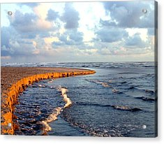 Incoming Tide At Sundown Acrylic Print by Will Borden