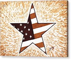 Independence Day Star Usa Flag Coffee Painting Acrylic Print by Georgeta  Blanaru