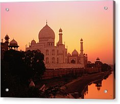 India,agra,taj Mahal And River Yamuna,sunset Acrylic Print by David Sutherland