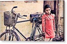 Indian Boy With Cycle Acrylic Print by Parikshat sharma
