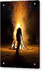 Indian Ceremonial Bonfire Acrylic Print by Ralph Brannan