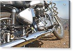 Indian Motorbike Chrome Acrylic Print by Kantilal Patel