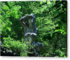 Indian Statue Along The Wissahickon Acrylic Print by Bill Cannon