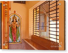 Indian Temple Bench And Artwork Acrylic Print by Inti St. Clair