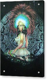 Indian Woman Acrylic Print by Unique Consignment
