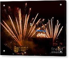 Indians Fireworks Acrylic Print by Bob Niederriter