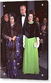 Indira Gandhi With President And Lady Acrylic Print by Everett