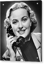 Indoor Portrait Of Woman On Telephone Acrylic Print by George Marks