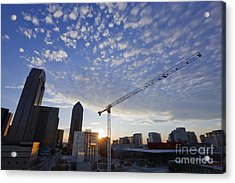 Industrial Crane Within City Skyline Acrylic Print by Jeremy Woodhouse