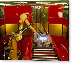 Industrial Robot Welding On Production Line Acrylic Print by David Parker600-group