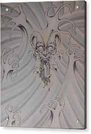 Ink And Pastel Oriental Style Dragon And Waves Acrylic Print by Andrew Longhi