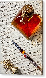 Ink Bottle And Pen  Acrylic Print by Garry Gay