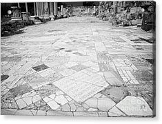 Inscription In The Floor Tile Of The Gymnasium Stoa Ancient Site Of Salamis Famagusta  Acrylic Print by Joe Fox