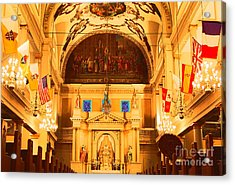 Inside St Louis Cathedral Jackson Square French Quarter New Orleans Film Grain Digital Art Acrylic Print by Shawn O'Brien