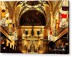 Inside St Louis Cathedral Jackson Square French Quarter New Orleans Fresco Digital Art Acrylic Print by Shawn O'Brien