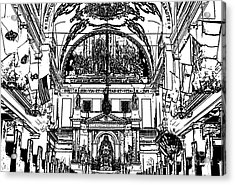 Inside St Louis Cathedral Jackson Square French Quarter New Orleans Stamp Digital Art Acrylic Print by Shawn O'Brien