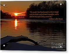 Inspirational Sunset With Quote Acrylic Print by Sue Stefanowicz