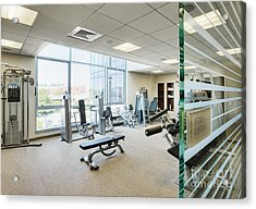 Interior Of Fitness Center Acrylic Print by Andersen Ross