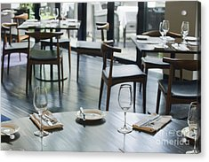 Interior Of Restaurant Acrylic Print by Shannon Fagan