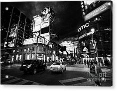 Intersection Of Yonge And Dundas At Night Yonge-dundas Square Toronto Ontario Canada Acrylic Print by Joe Fox