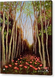 Into The Woods-poppies Acrylic Print by Vic  Mastis