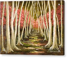 Into The Woods-series With Gold Leaf By Vic Mastis Acrylic Print