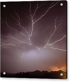 Intra-cloud Lightning At Night, Over Phoenix, Usa Acrylic Print by Keith Kent