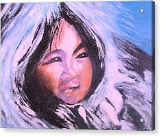 Acrylic Print featuring the painting Inupiaq Eskimo Child by Alethea McKee