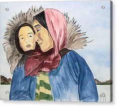 Acrylic Print featuring the painting Inupiaq Eskimo Mother And Child by Alethea McKee