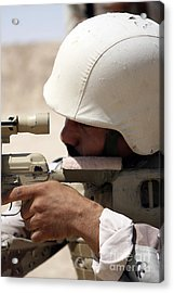 Iraqi Army Sergeant Sights Acrylic Print by Stocktrek Images