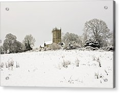 Ireland Winter Landscape With Church Acrylic Print by Peter McCabe
