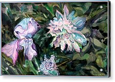 Iris And Peonies Acrylic Print by Mindy Newman