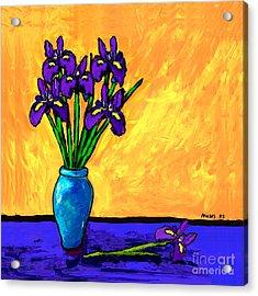 Iris On Yellow Acrylic Print
