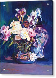 Iris Peonies And Chinese Vase Acrylic Print by David Lloyd Glover