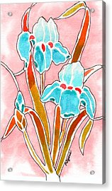 Acrylic Print featuring the painting Irises With An Attitude by Paula Ayers