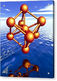Iron Molecule Over Water Acrylic Print by Pasieka