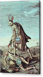 Iroquois Warrior Scalping Enemy, 1814 Acrylic Print by Photo Researchers