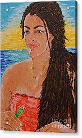 Island Flower Girl Acrylic Print