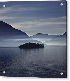 Island In Morning Mist Acrylic Print