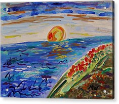 Island Poppy Sundown Acrylic Print by Mary Carol Williams