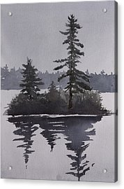 Island Reflecting In A Lake Acrylic Print by Debbie Homewood