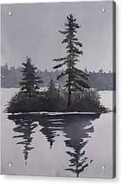 Island Reflecting In A Lake Acrylic Print by Debbie Homewood