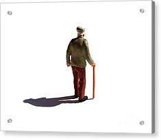 Isolated Old Man. Acrylic Print by Bernard Jaubert