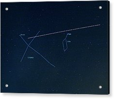Iss Light Trail And Constellations Acrylic Print by Detlev Van Ravenswaay